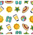 cute colorful seamless pattern summer and beach vector image vector image