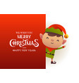 cute elf stands behind red signboard vector image vector image