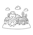 cute sheep in field woodland character vector image