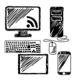 Device Drawing Set Design flat vector image