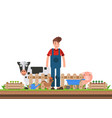 farmer working character design organic vector image
