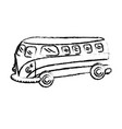 figure retro hippie bus transportation with vector image vector image