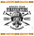 firefighter head in gas mask emblem vector image vector image