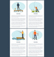 fishing posters men set people catching fish text vector image vector image