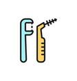 flosser dental floss flat color line icon vector image