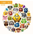 funny animals in circle vector image vector image
