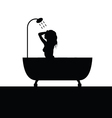 girl pose in bathtube silhouette vector image