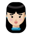 girl with dark hair flat icon vector image
