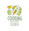 hand drawn cooking logo design with fresh vector image vector image