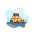 happy family trip car vector image vector image