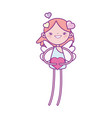 happy valentines day cute cupid with hearts love vector image vector image