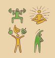 healthy people sign symbols set hand drawn vector image