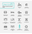 Hospital special rooms - line design pictograms vector image
