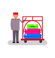 hotel porter with suitcases vector image