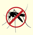 Icon of Aegypti mosquito with forbidden sign vector image