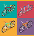 isometric bicycle set with mountane bike vector image