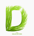 letter d of juicy grass alphabet green d vector image
