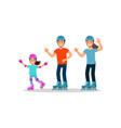 little girl with her parents riding roller skate vector image