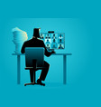 man figure having video conference with group vector image