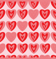 modern hearts on pink background seamless pattern vector image