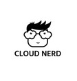 nerd with glasses cloud form design template vector image