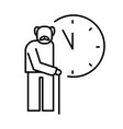old man with cane and clocks icon for retirement vector image