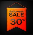 orange pennant with inscription halloween sale vector image vector image