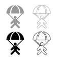 parachute jumper icon set grey black color vector image