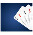 playing cards on blue background vector image