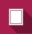 postal stamp icon isolated with long shadow vector image vector image