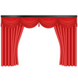 realistic red silk curtains backdrop entrance vector image vector image