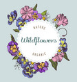 round paper emblem over wildflowers hand drawn vector image vector image