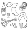russian doodle icons collection isolated on white vector image vector image