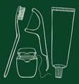 set chalk sketch tooth brushing items tooth vector image vector image