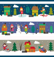 set horizontal banners with kids in winter time vector image