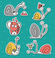 Set of 6 snails doodle handmade Snail with vector image