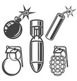 set of bomb grenade dynamite stick on white vector image vector image