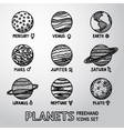 Set of hand drawn planet icons with names and vector image vector image