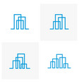 set of modern line art city logo template city vector image