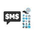 SMS Bubble Flat Icon With Bonus vector image vector image