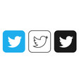 social media icon set for twitter in different vector image vector image