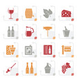 stylized wine industry objects icons vector image vector image