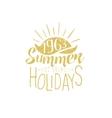 summer holidays vintage emblem with sunset vector image
