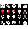Tools emotions smiles map markers icons vector image