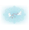 Two birds fly and carry in its beak decorative hea vector image vector image