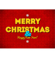 Vintage red Merry Christmas card with lettering vector image