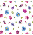 watercolor pansy flower pattern vector image vector image