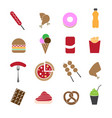 fast food in colorful icons set vector image