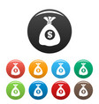 bag money icons set color vector image vector image