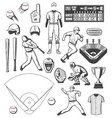 baseball sport equipment and players outfit icons vector image vector image